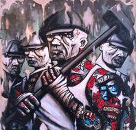 Terry Bradley original art - painting of four working men with flatcaps, tools and tattoos